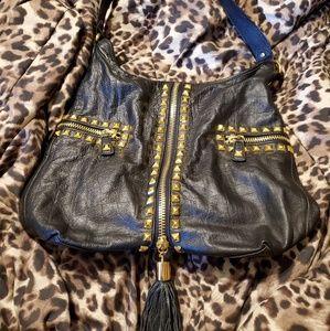 Betsy Johnson black leather handbag